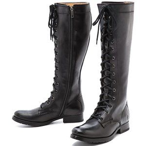 Frye Melissa Tall Lace Up Boots Black Combat